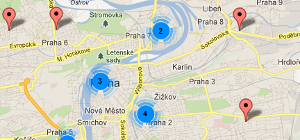 Mapa restaurace v Praze